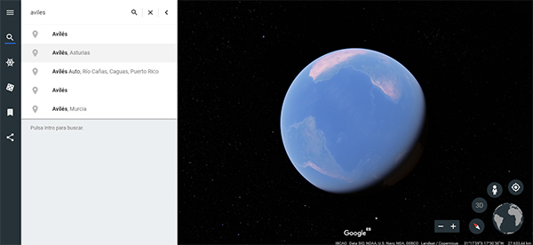 Google Earth busquedas