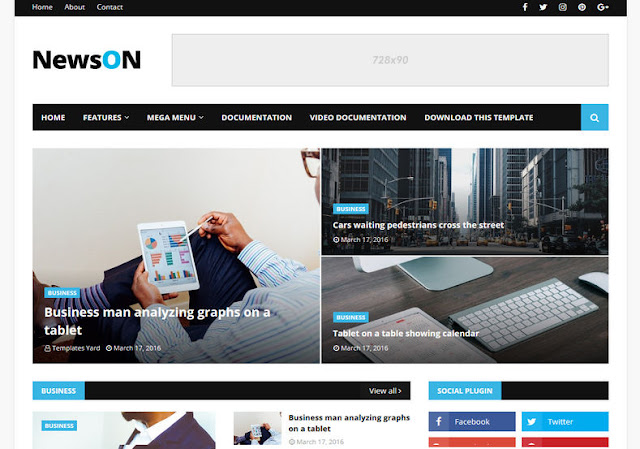 NewsOn Blogger Theme