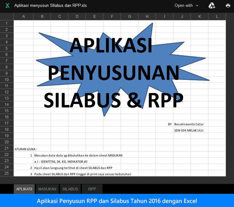 Aplikasi Penyusun RPP dan Silabus Tahun 2016 dengan Excel