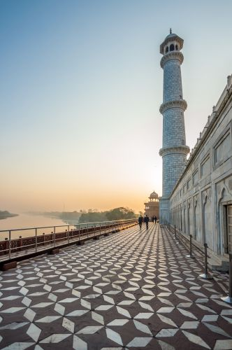 Beautifully patterned corridor on the back of Taj and with river Yamuna on left
