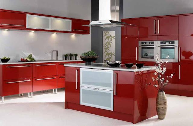 interior dapur warna merah