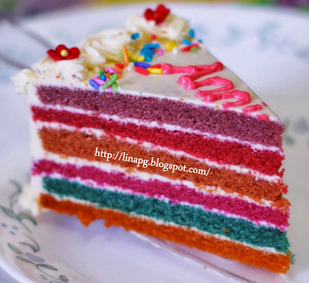 Olahan Resepi kek rainbow step by step - Foody Bloggers