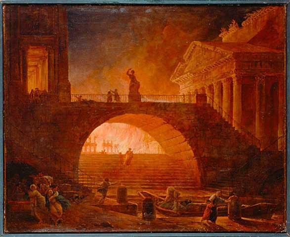el incendio de Roma en el 64 d.C.