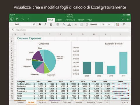 Microsoft Excel gratis per iPad, iPhone e iPod Touch.