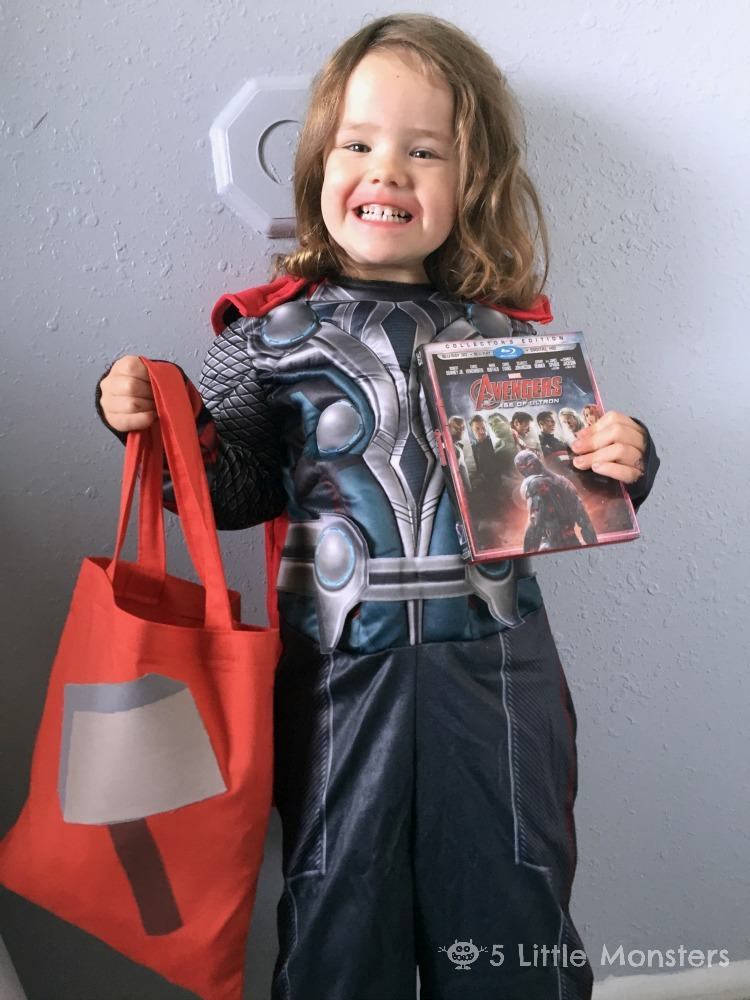 Make your own Thor trick or treat bag, patterns for Captain America and Black widow too