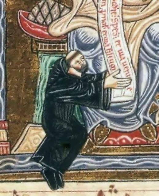 Santo Odon aos pés de Nossa Senhora, detalhe da iluminura acima.