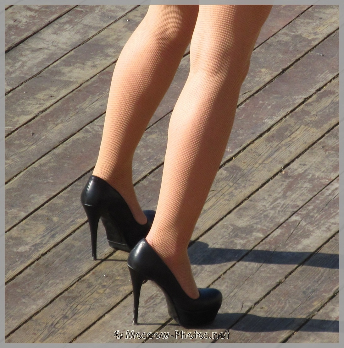Black high heeled shoes
