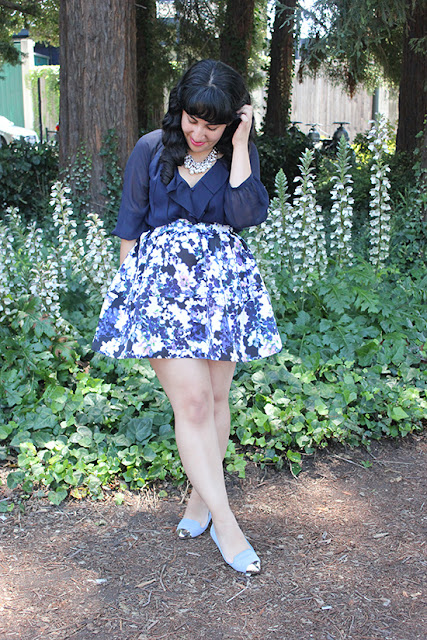 DVF Navy Silk Blouse and Express Blue Floral Skirt