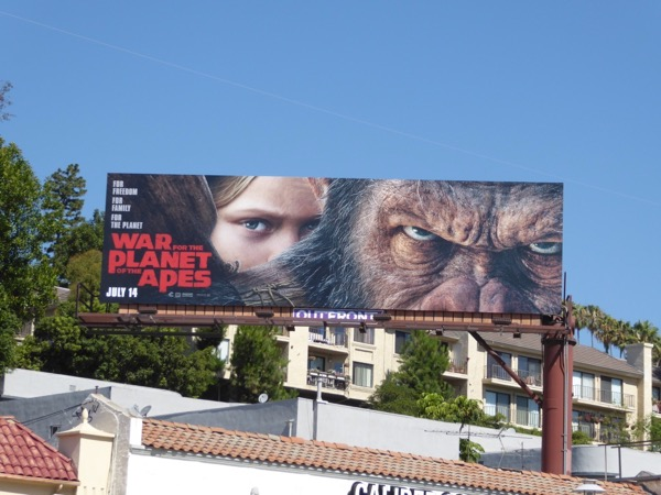 War for Planet of the Apes movie billboard
