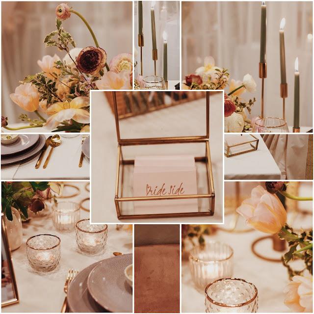Konsultant ślubny, Wedding Planner, romantyczny ślub, złoto, róż, zieleń. Zastawa stołowa, dekoracje na ślub. Alternatywne Targi Ślubne. Targi Happy Together.