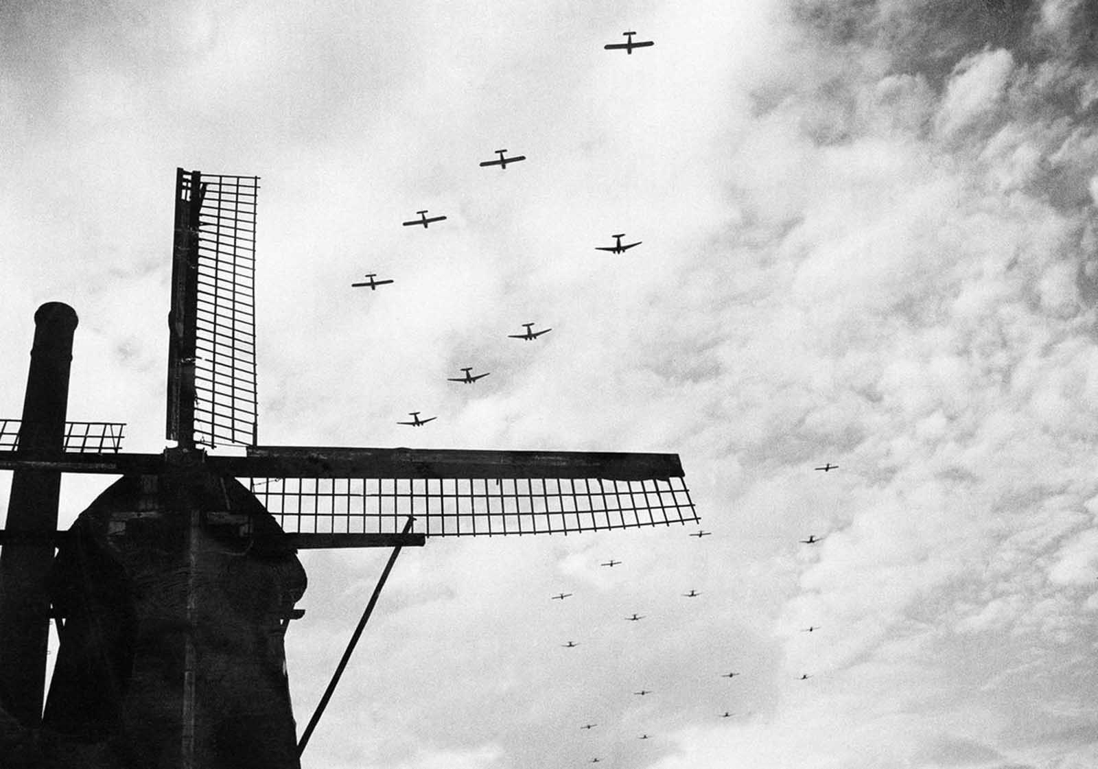 In the sky above the Netherlands, American tow planes with gliders strung out behind them fly high over windmill in Valkenswaard, near Eindhoven, on their way to support airborne army in Holland, on September 25, 1944.