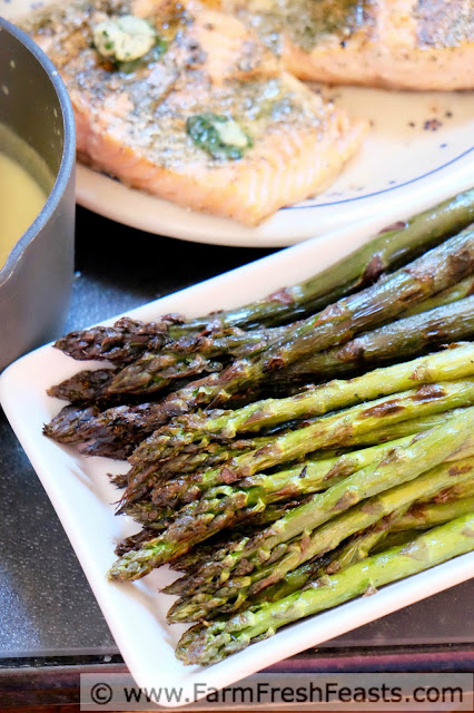 Use the right tools for the job to grill a Father's day meal of Grilled Asparagus and Salmon with Dill Butter.