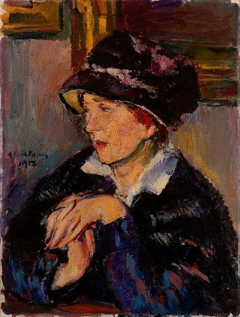 Anton Faistauer - Портрет дамы в темной шляпе