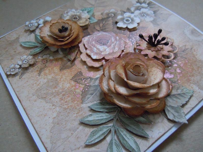 Kartka ręcznie robiona, wielowarstwowe kwiaty