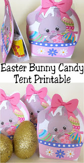 I love these candy tents! They are the perfect easy and cute party favor for any Easter party.  Simply print out the cute Easter Bunny candy tent printable and you have a sweet treat to give students, friends, and neighbors this Easter.