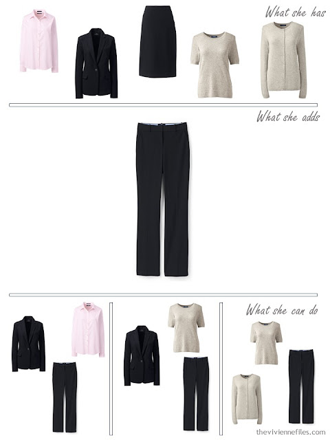 adding black pants to a 4 by 4 wardrobe