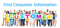 People holding customer sign. Find consumer information.