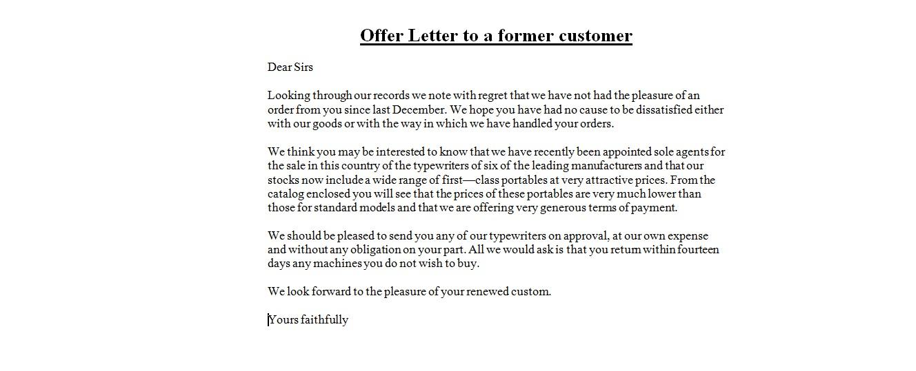 Business Letter Samples  Offer Letter to a former customer - sample offer letters