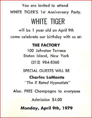 White Tiger 1 year anniversary invite at The Factory rock club April 1979. My second stomping ground right after The Rock Palace!