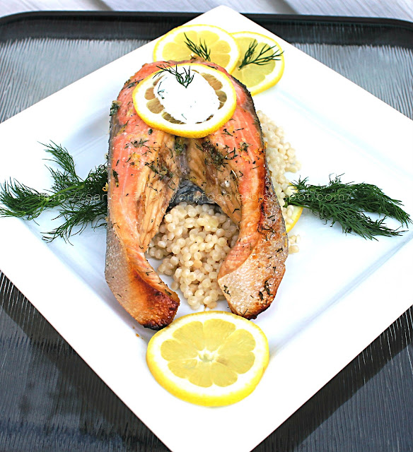 Baked Lemon Dill Salmon Steaks over Israeli Couscous