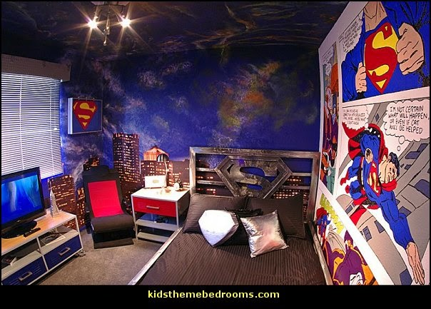 superman bedroom decorating ideas - superman decor - superman wall murals - superman bedding - Superheroes bedroom ideas - batman - spiderman - superman phone booth bedroom ideas - Superman bedroom decor - superman canvas art