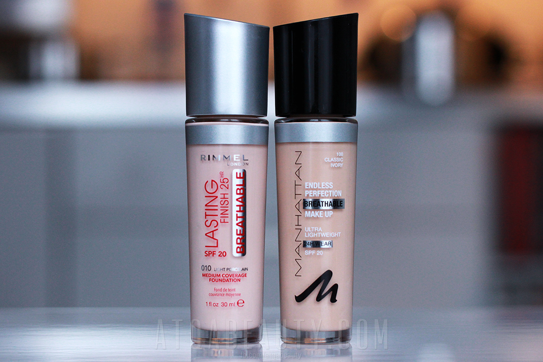 atqabeauty.com_Bliżnięta: Rimmel Lasting Finish 25HR Breathable Medium Coverage Foundation i Manhattan Endless Perfection Breathable Make Up SPF20