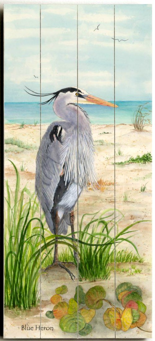 Blue Heron Painting on Wood