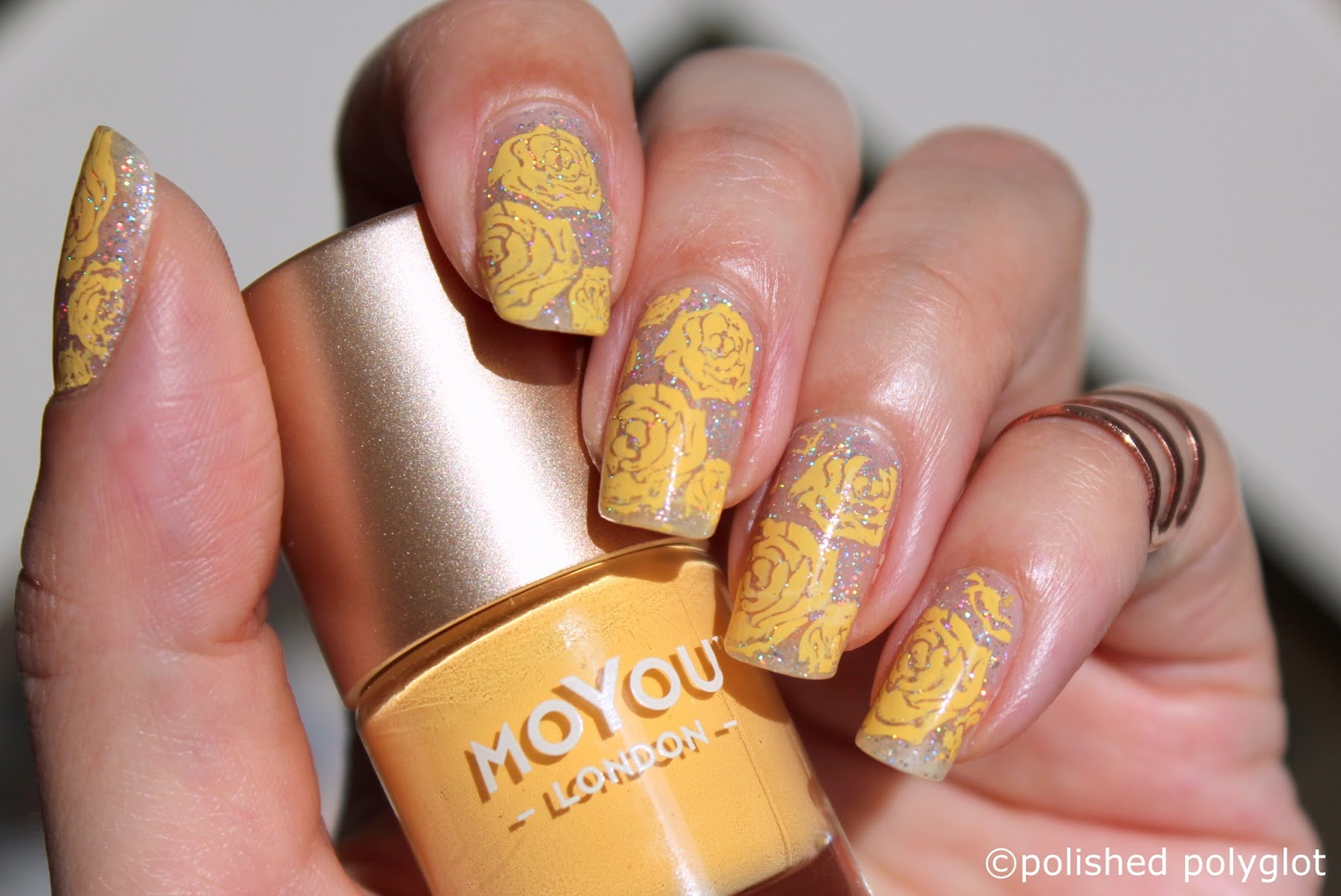 Nail art │ Silver and yellow roses / Polished Polyglot
