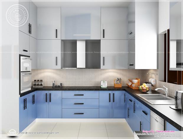 Beautiful Blue Toned Interior Design - Kerala Home
