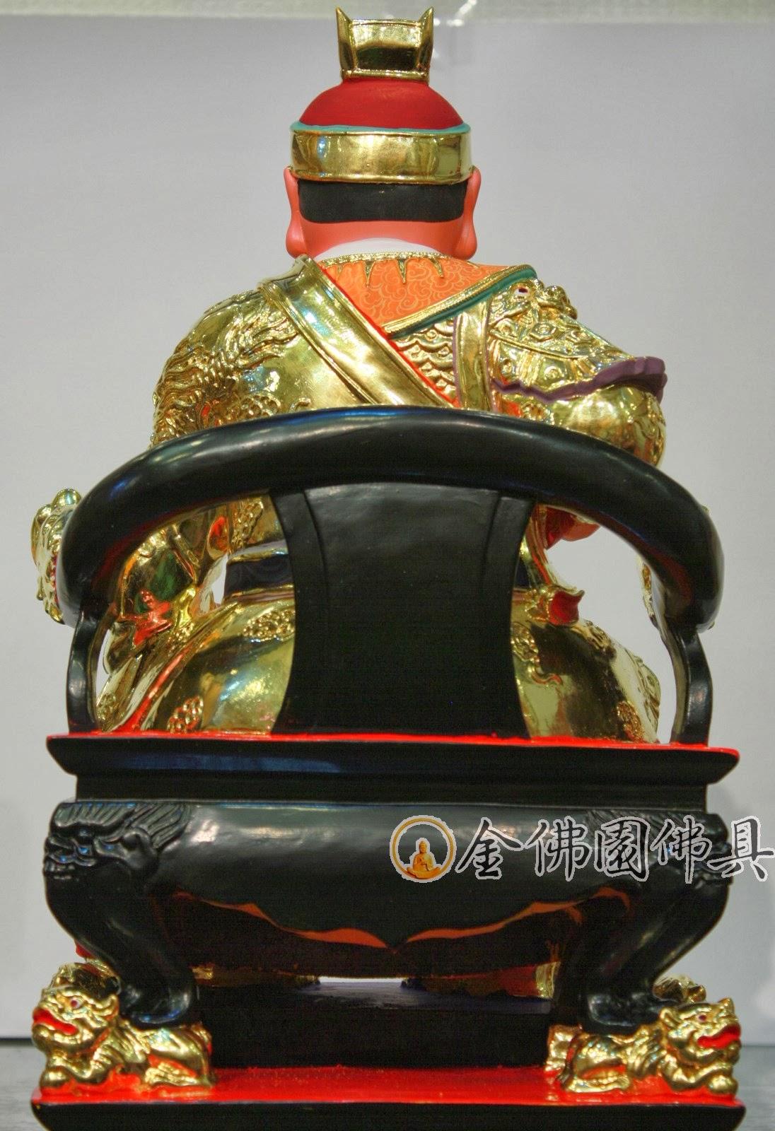 金佛園佛具: QH32五府千歲吳府王爺神像-樟木雕1尺6