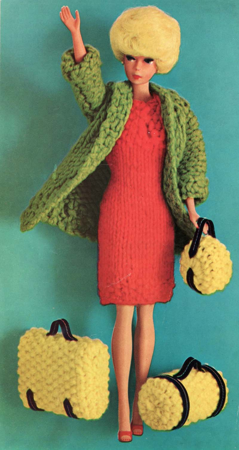 Free Knitting Patterns For Ken Doll Clothes : The Vintage Pattern Files: 1960s Knitting - Barbie Doll Travel Ensemble