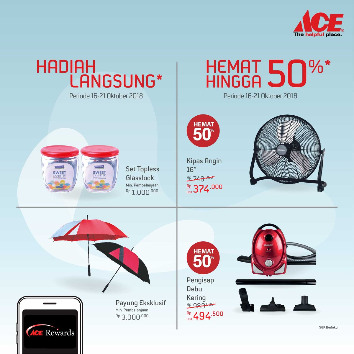 AceHardware - Promo Opening Nipah Mall Makassar & Ada Diskon s.d 50% (s.d 21 Okt 2018)