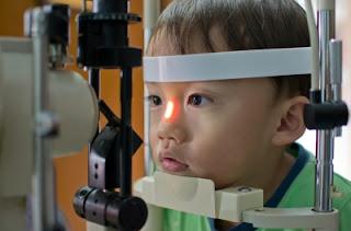 a child having an eye exam