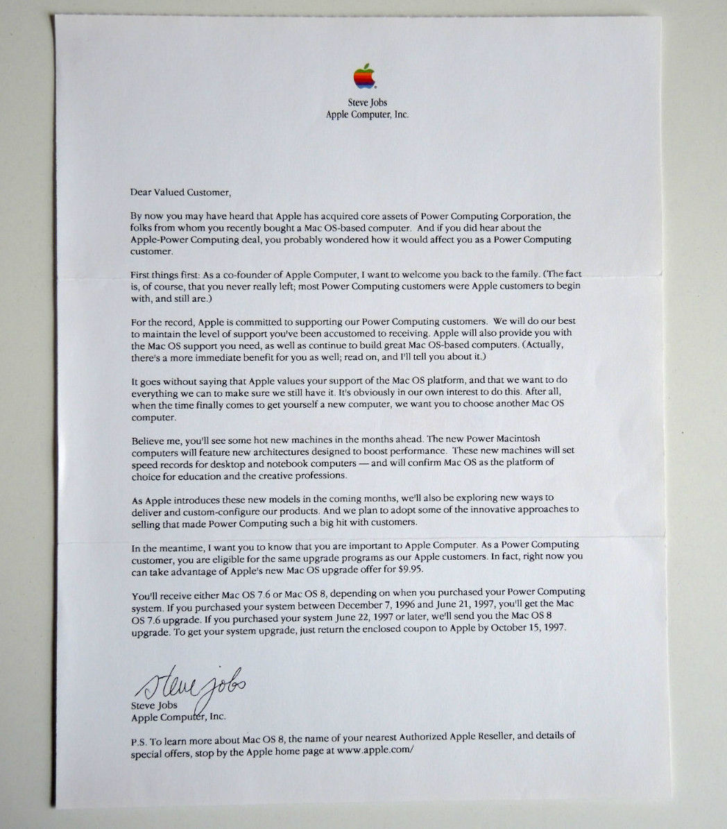 Kootenaymac steve jobs bulk mailing letter to power for How to mass mail letters