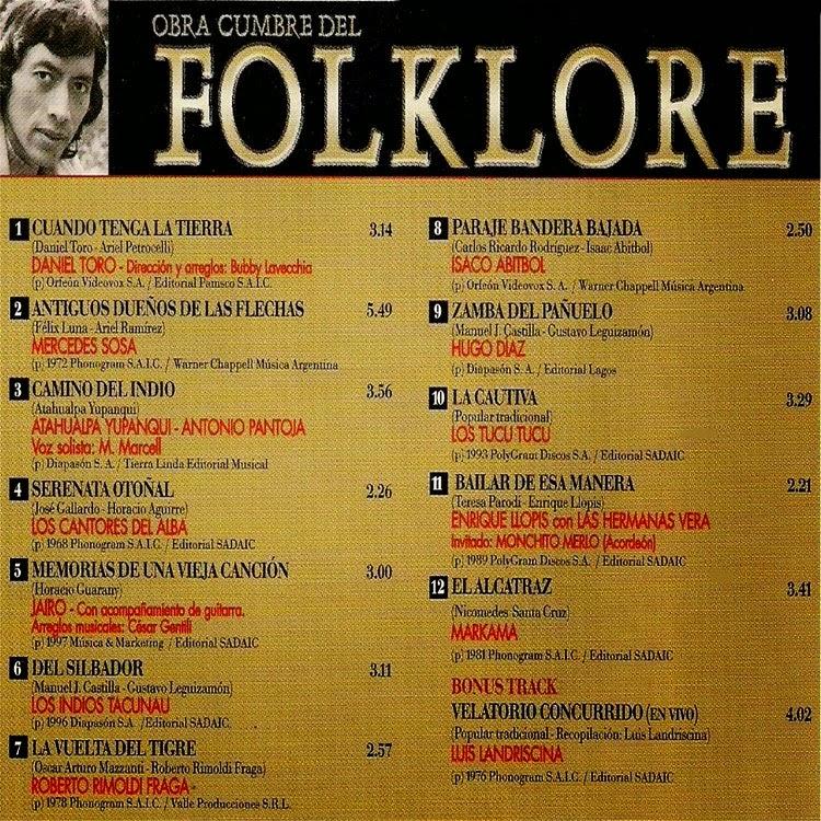 obras cumbres del folklore descargar disco gratis