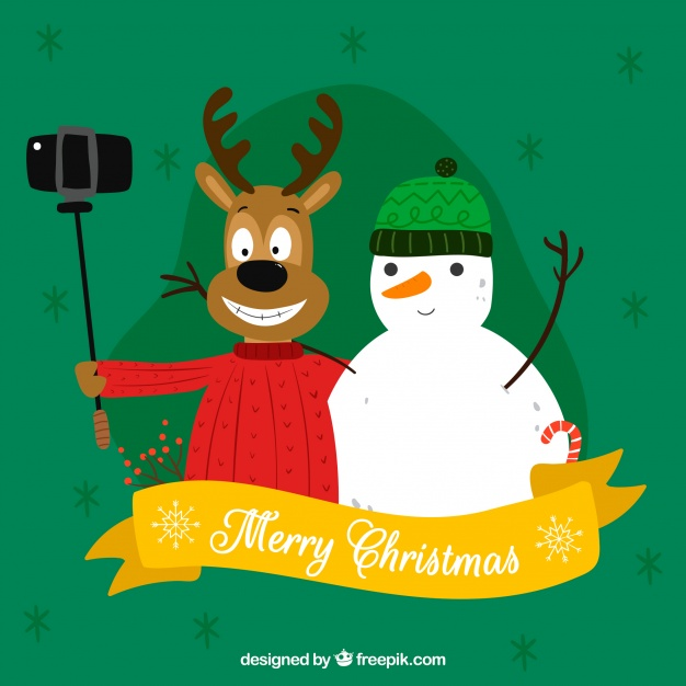 Funny hand drawn merry christmas Free Vector
