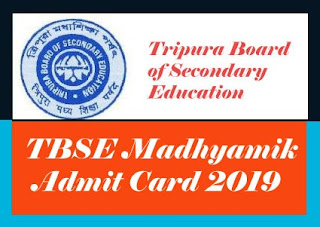 Tripura Board Madhyamik Admit card 2019, Tripura Board 10th Admit card 2019