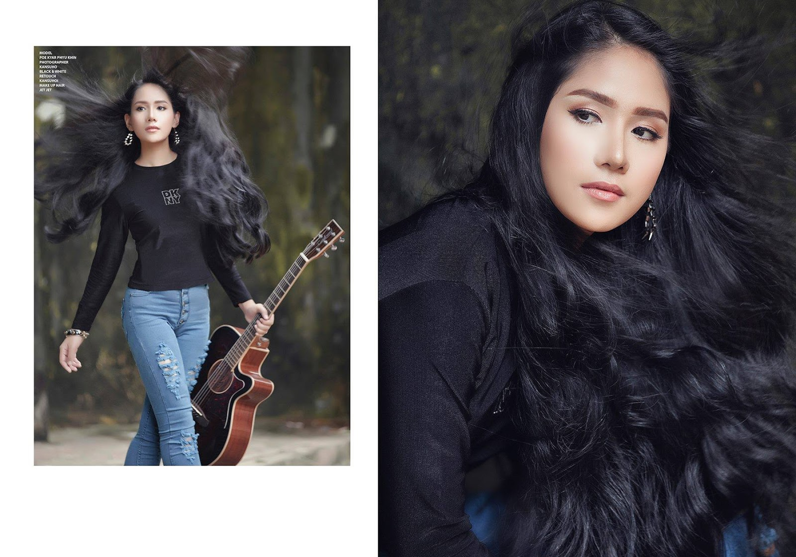 Poe Kyar Phyu Khin Fashion Photoshoot In Black Top and Blue Jeans