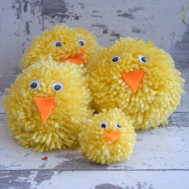 Easter crafts for kids, yarn pom pom Easter chicks wool bobble pompoms