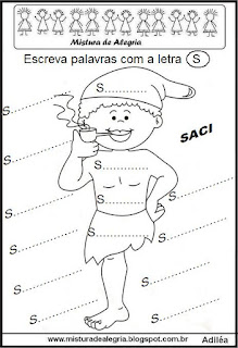 Atividade alfabetização folclore saci