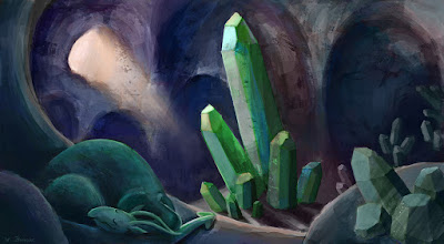 Cartoon style children's book illustration of a dragon in a crystal cave, painted digitally in Photoshop.