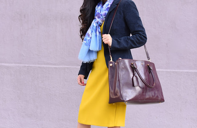 Joanna Joy A Stylish Love Story Blog petite fashion blogger Zara yellow shift dress navy blue wool blazer blue and purple floral Vera Wang scarf Ralph Lauren Equestrian print burgundy satchel