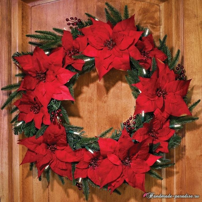 Пуансеттия в новогоднем и рождественском интерьере (7)