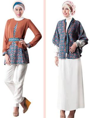 Model Baju Batik Kombinasi Polos berhijab