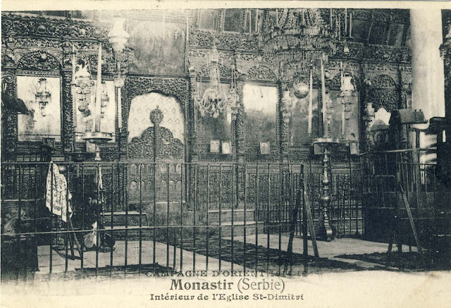 "The interior of the church ""St.Dimitrija"" in Bitola in 1917 Publisher: H. Grimaud Cie Marseille, France"