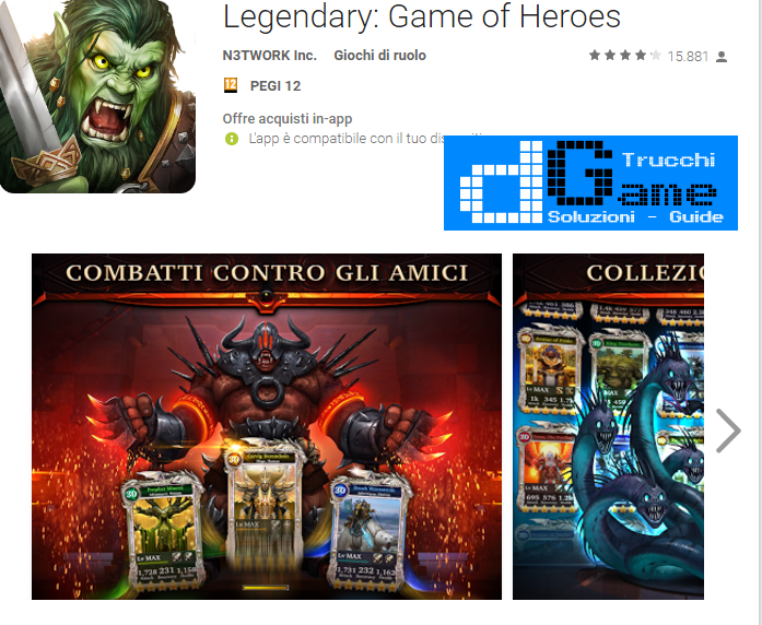 Trucchi Legendary: Game of Heroes Mod Apk Android v1.7.1
