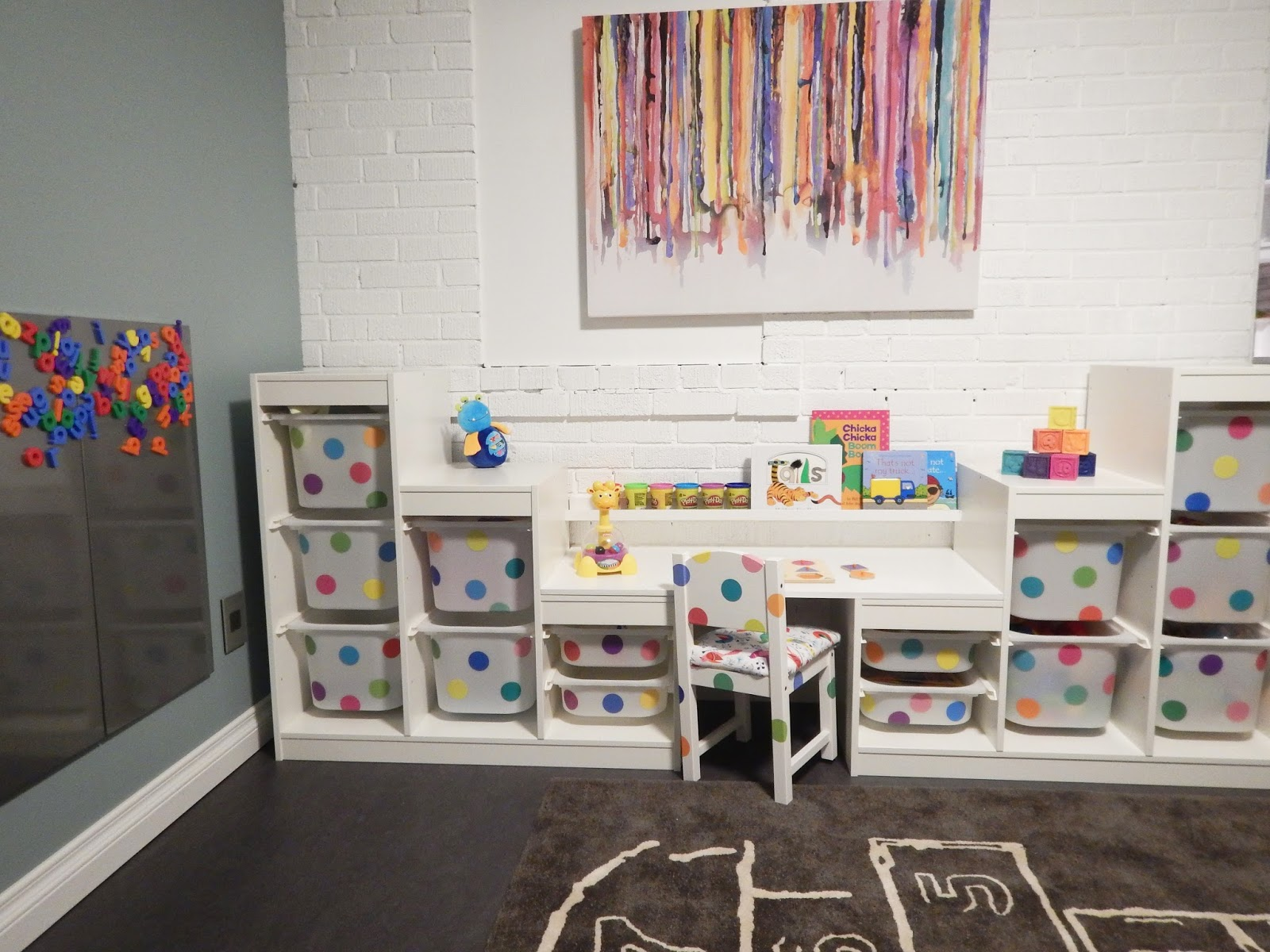 Children S Playroom Fresh Coat Of Paint Ikea Hack Trofast Storage System