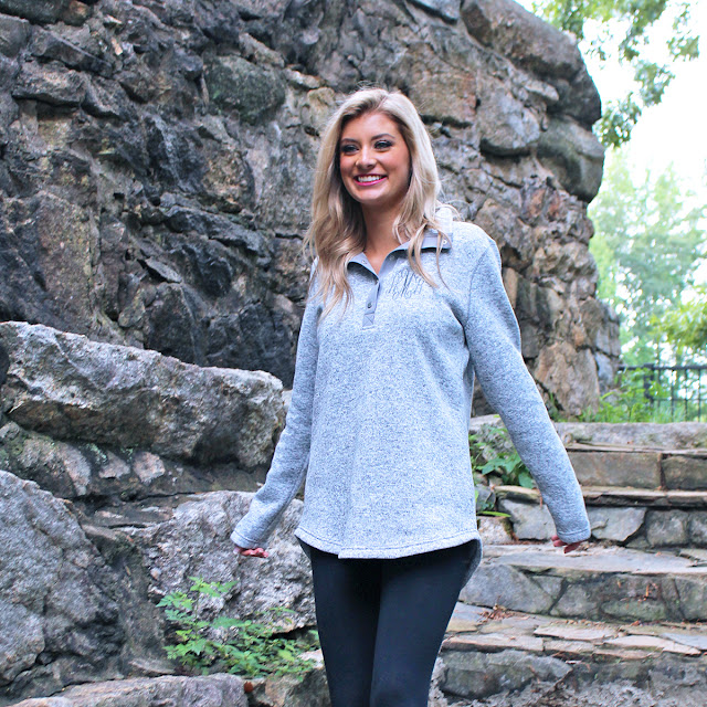 grey monogrammed heathered tunic