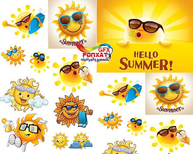فيكتور ايقونات الشمس والصيف بصيغة eps بجودة عالية تصميمات فيكتور