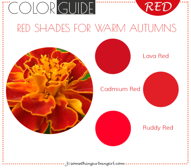The best red color shades for Warm Autumn seasonal color women